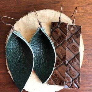 2 pair Emerald Leather leaf and Blue Bar Earrings